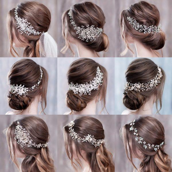 Luxusní vlasové čelenky zdobené umělými krystalovými kamínky a vzorem květin