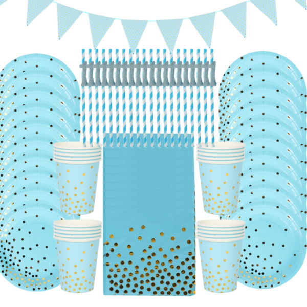 Stolovací papírové doplňky na oslavu v modré barvě