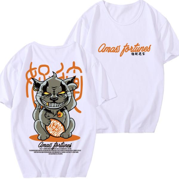 Pánské volnočasové oversize triko s potiskem kočky