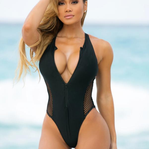 Dámské jednodílné sexy zeštíhlující plavky na zip