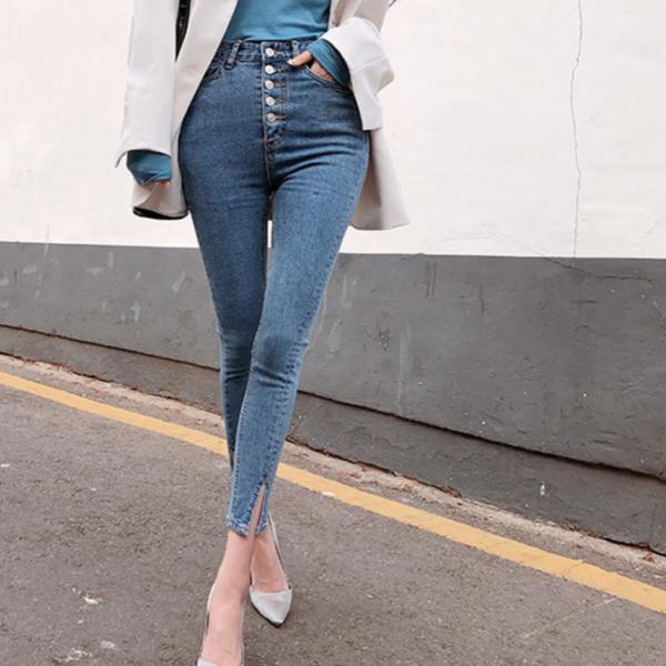 Dámské strečové džíny s vysokým pasem