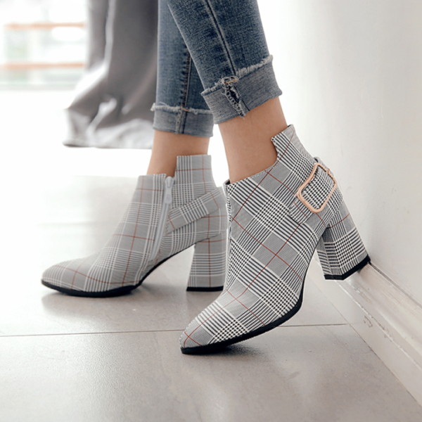 Dámské módní kostkované boty na podpatku