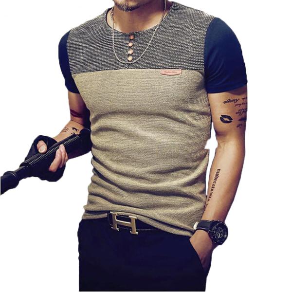 Pánské ležérní trendy triko s krátkým rukávem a knoflíčky