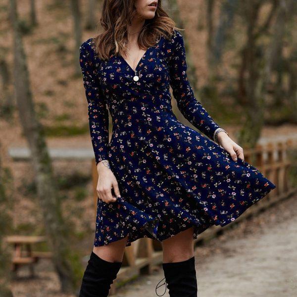 Dámské trendy jarní šaty s dlouhým rukávem Kali