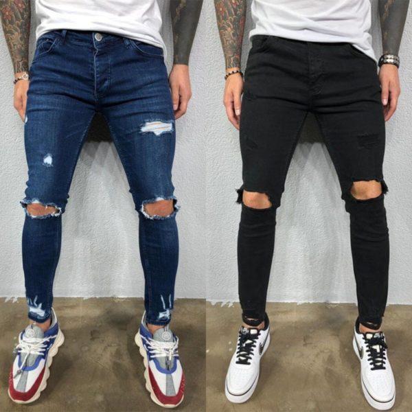 Pánské skinny ripped kalhoty s dírkama na kolenech