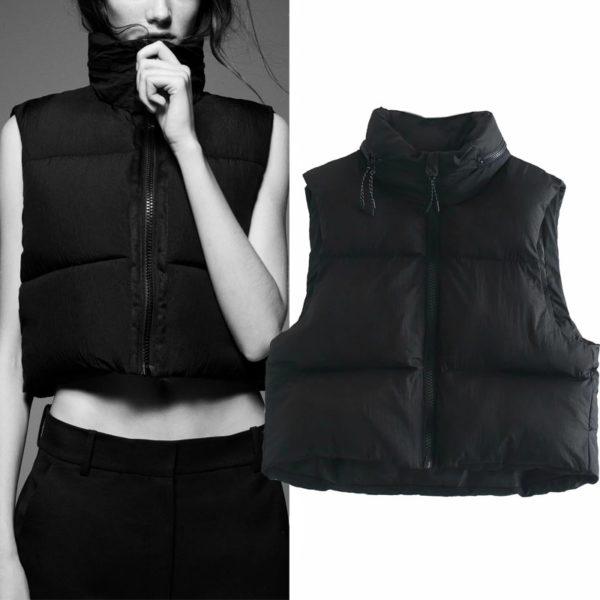Dámská cropped vesta s vysokým límečkem - Kolekce 2021