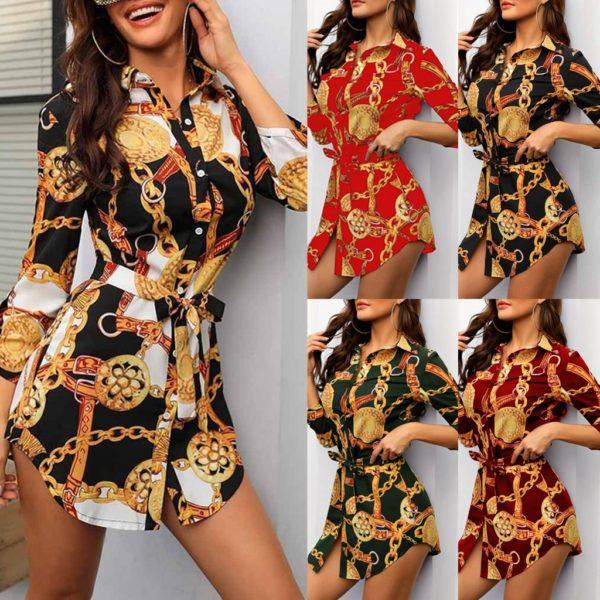 Dámské mini šaty v košilovém stylu