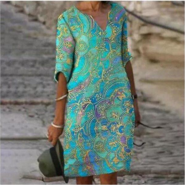 Dámské letní šaty nad kolena s tříčtvrtečním rukávem Amber