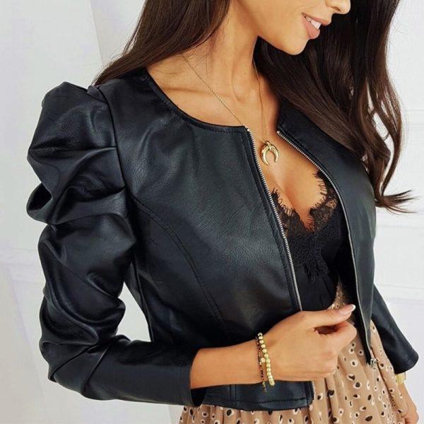 Dámská croptop bunda s řasenými rukávy