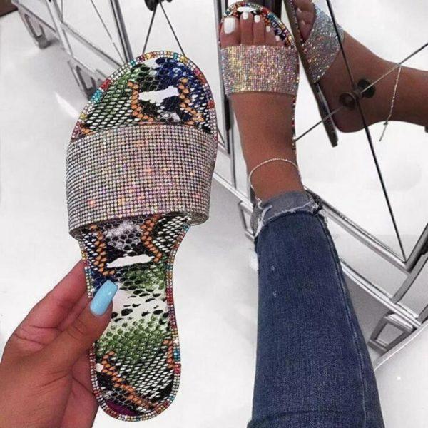 Dámské luxusní pantofle s kamínky