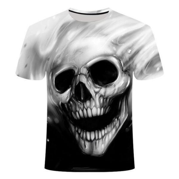 Pánské punkové tričko s 3D potiskem lebky