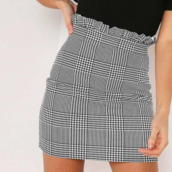 Letní dámská kostkovaná mini sukně