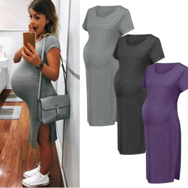 Letní jednobarevné těhotenské bavlněné šaty