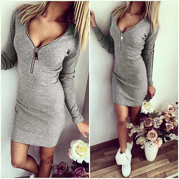 Dámské pletené šaty s dlouhým rukávem