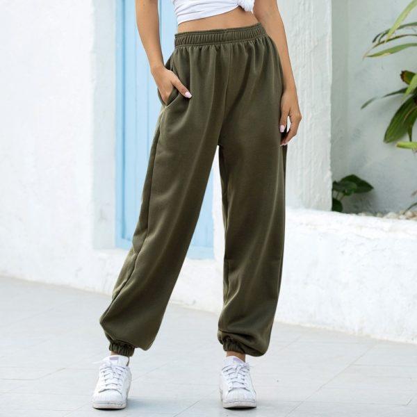 Dámské moderní joggers kalhoty s vysokým pasem Linda