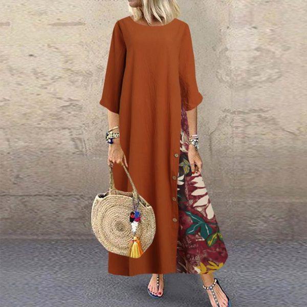 Dámské dlouhé letní šaty s tříčtvrtečním rukávem Bestco