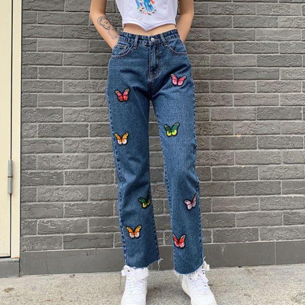 Stylové džíny s barevnými motýlky