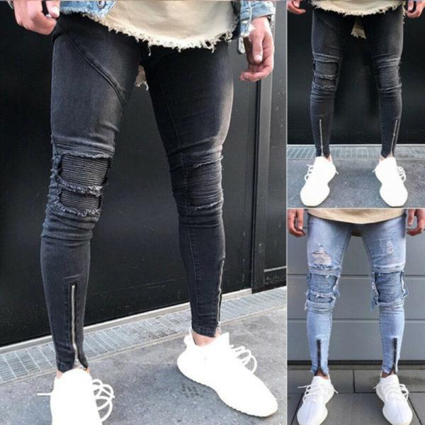 Pánské skinny ripped potrhané kalhoty