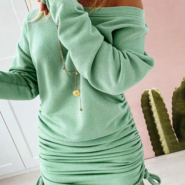 Sexy dámské pohodlné mikinové šaty se stahovací šňůrkou