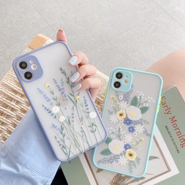 Luxusní 3D reliéfní květinové pouzdro pro iPhone