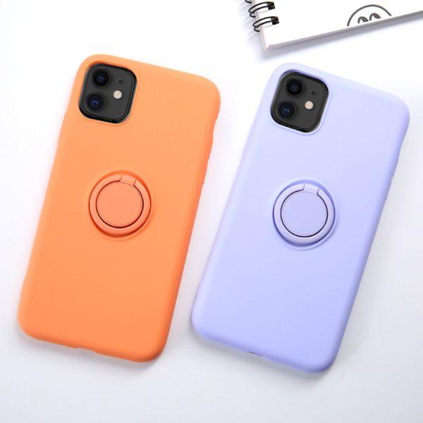 Měkké silikonové barevné pouzdro s prstenem pro iPhone