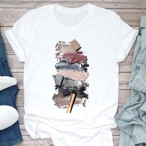 Dámské triko s 3D potiskem s kosmetikou