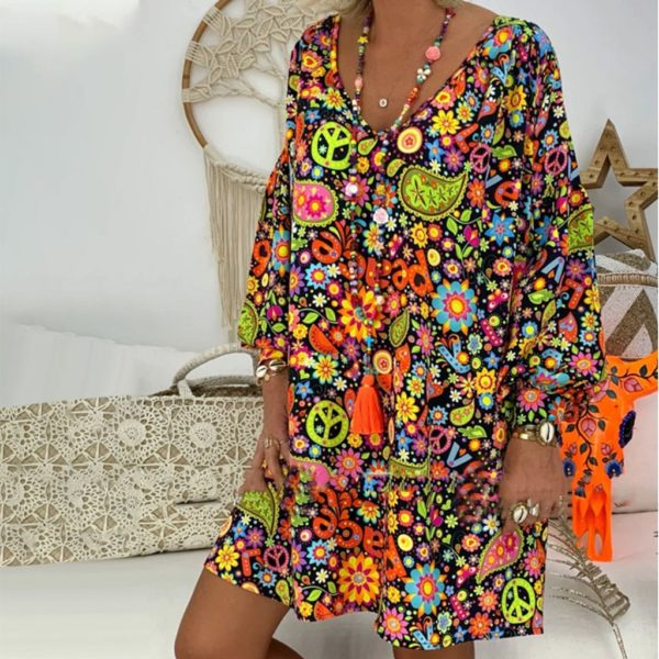 Dámské volné letní květinové šaty