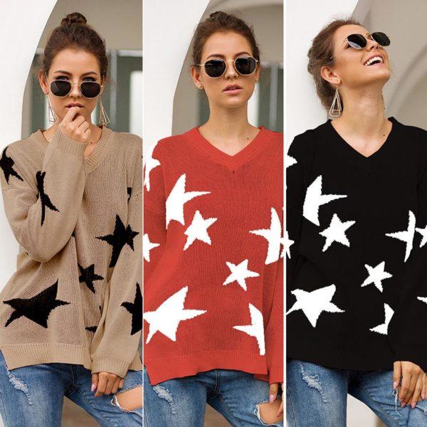Dámský ležérní svetr s hvězdami