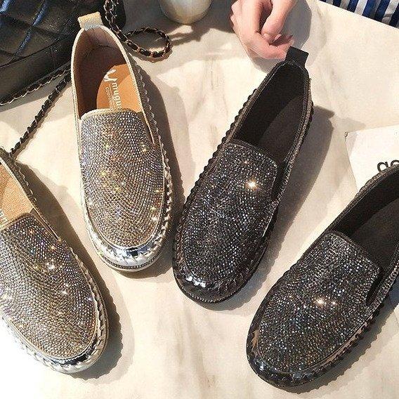Dámské nazouvací boty s křišťálovým vzhledem