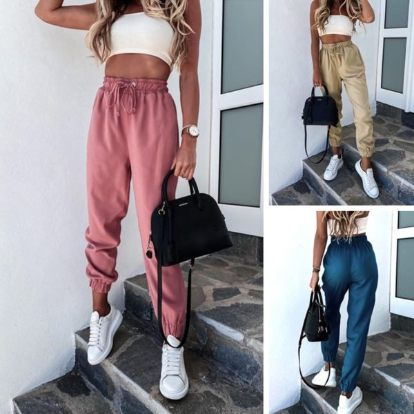 Jednobarevné dámské volné neformální kalhoty do pasu