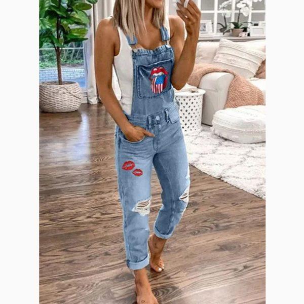 Dámské Vintage džínys kšandami