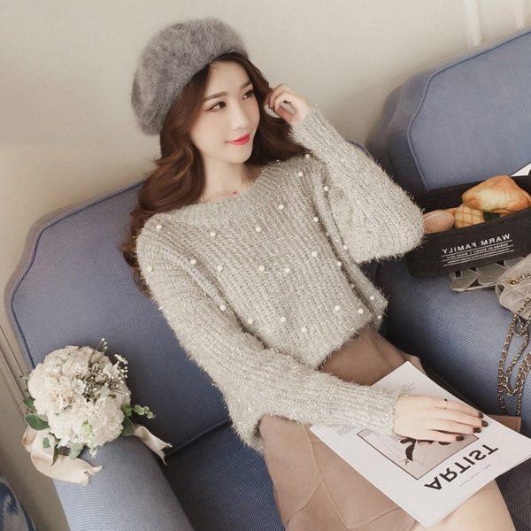 Dámský stylový svetr s perličkami Gizel