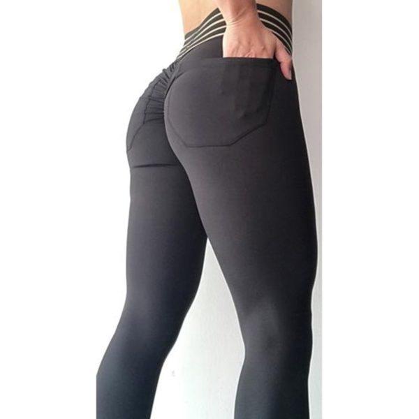 Sexy dámské push-up legíny s kapsami a vysokým pasem
