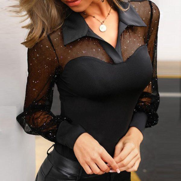 Dámská sexy blůza s dlouhým rukávem