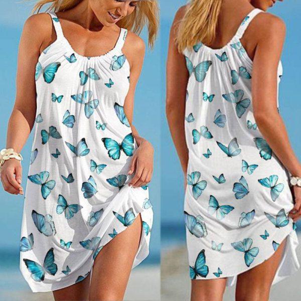 Dámské neformální stylové šaty s motýlkama