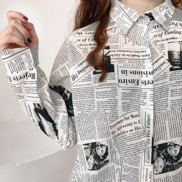 Dámská dlouhá košile v novinovém stylu