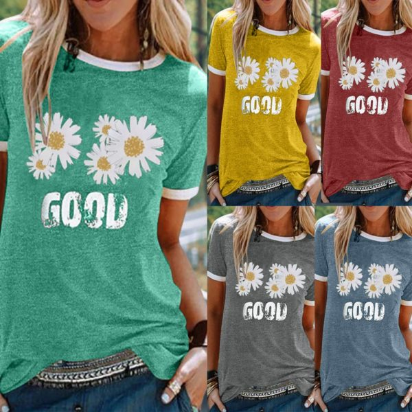 Dámské tričko s krátkým rukávem a květinovým potiskem