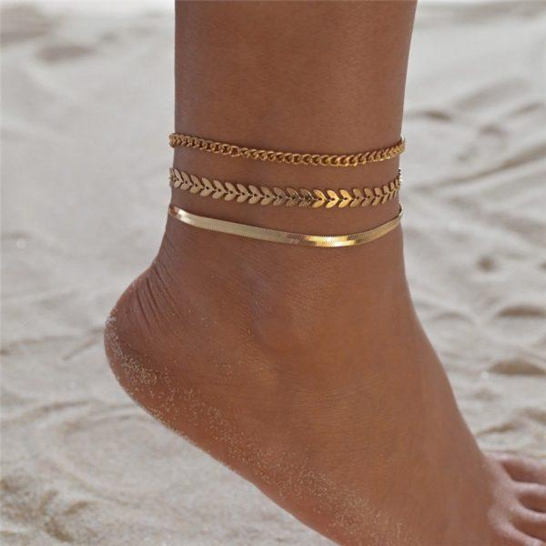 Zlatý jednoduchý roztomilý řetízek na nohu pro ženy