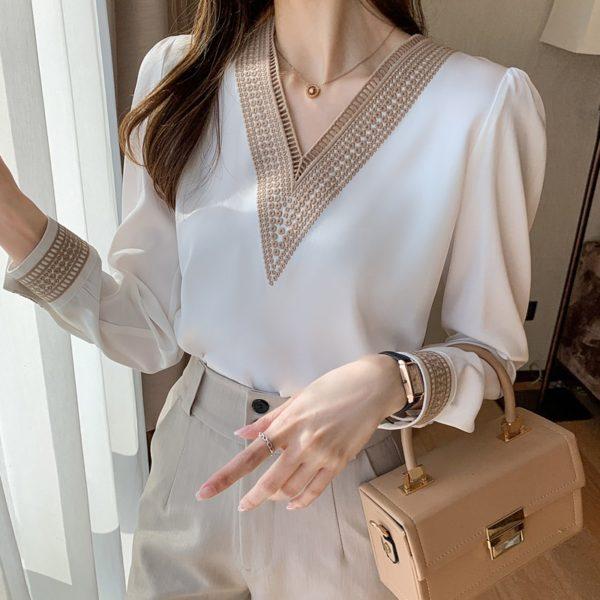 Dámská šifónová košile s dlouhým rukávem
