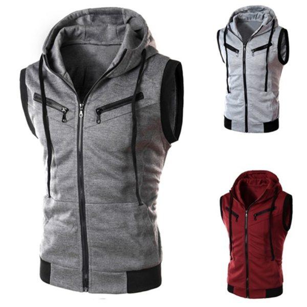 Pánská jednobarevná mikinová vesta s kapucí