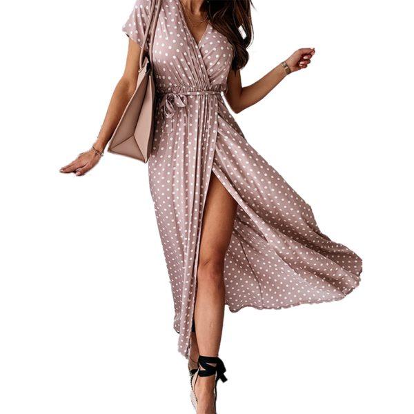 Dámský moderní puntíkaté maxi šaty