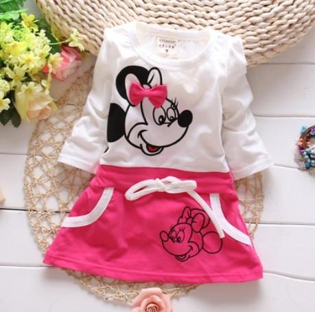 Roztomilé prošívané letní šaty s Minnie s dlouhým rukávem