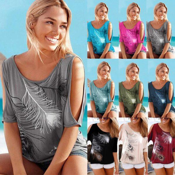 Dámské letní tričko s průstřihy na ramenou