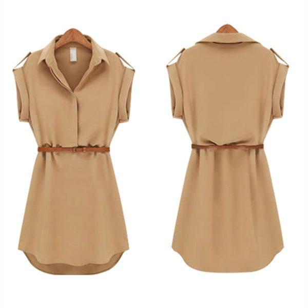 Letní dámské volné šifonové šaty s páskem