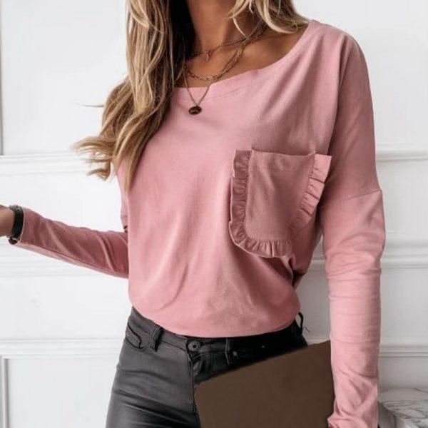 Dámské módní tričko s kapsičkou a dlouhým rukávem