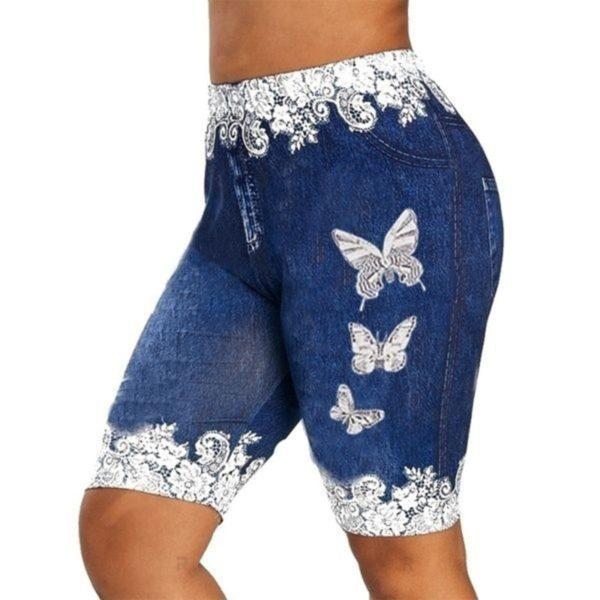 Dámské moderní letní šortky se vzorem motýla