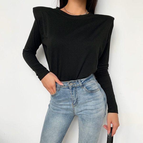 Dámské černé bavlněné triko Trina s ramenními vycpávkami