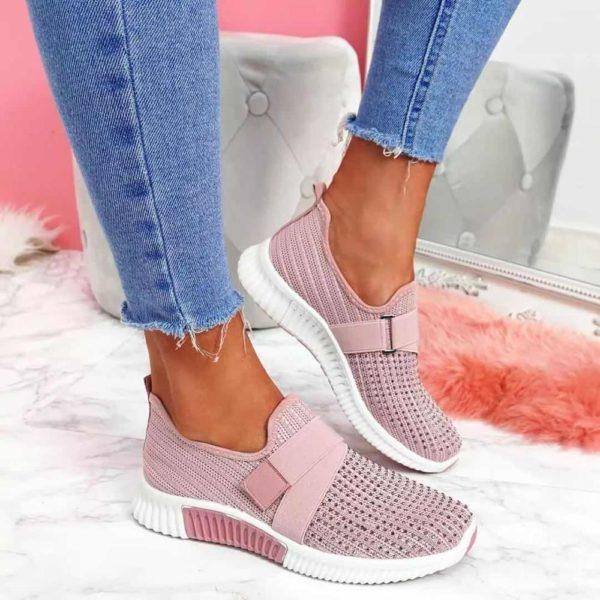Dámské módní růžové tenisky s kamínky   HIT 2021
