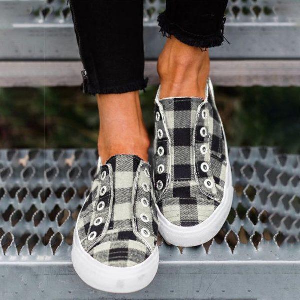 Dámské plátěné kostkované boty na léto