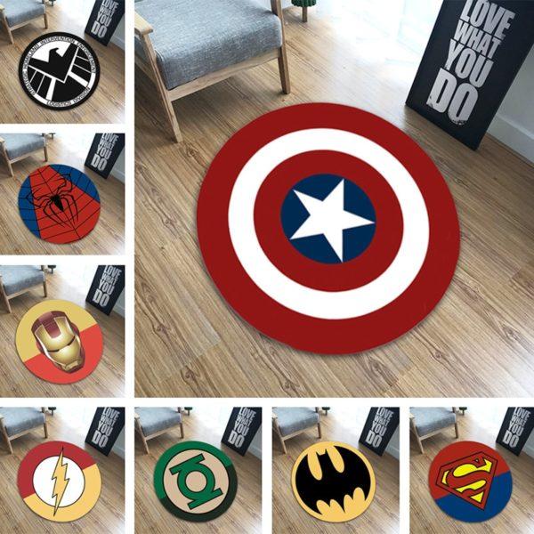Absorpční kruhová kreativní podlahová rohož s motivem oblíbených superhrdinů